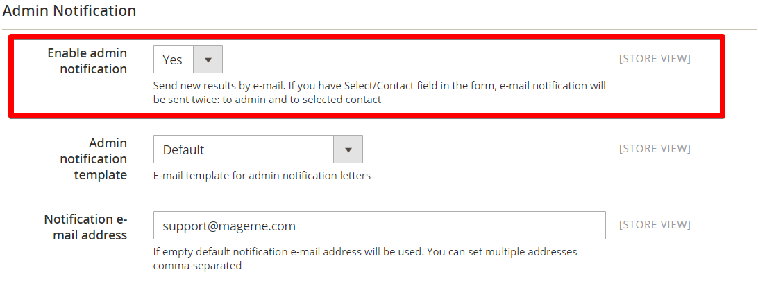 enable admin notification