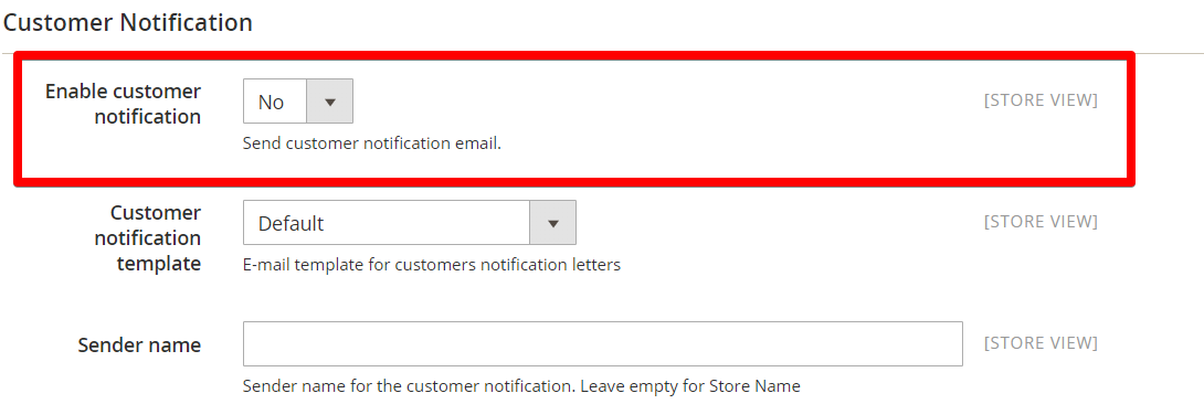 enable customer notification